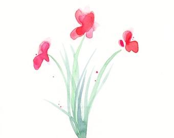 "Watercolor flowers, original painting of three pink flowers, ""Rosy Pinks"""