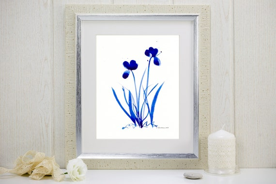"Cobalt blue watercolor print: ""Saturated Blue Flowers"""