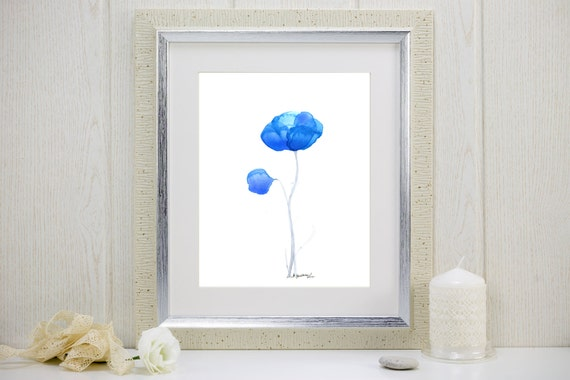 "Watercolor flowers art print of two blue flowers: ""Blues Duet"""
