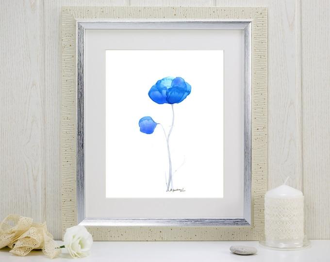 "Watercolor flower print of two blue flowers, ""Blues Duet"""