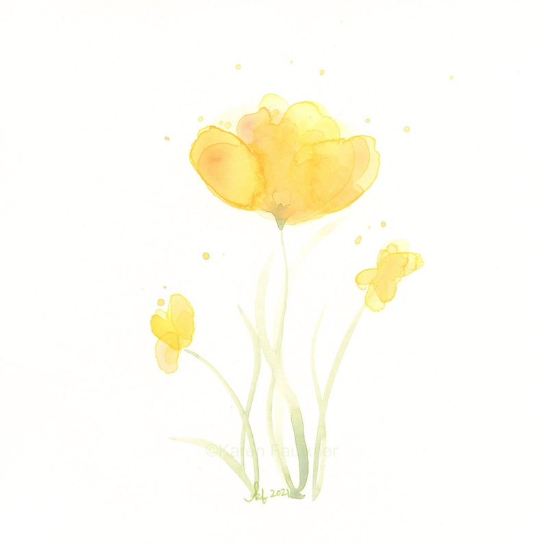Original watercolor painting of yellow flowers Sunshine Blossoms