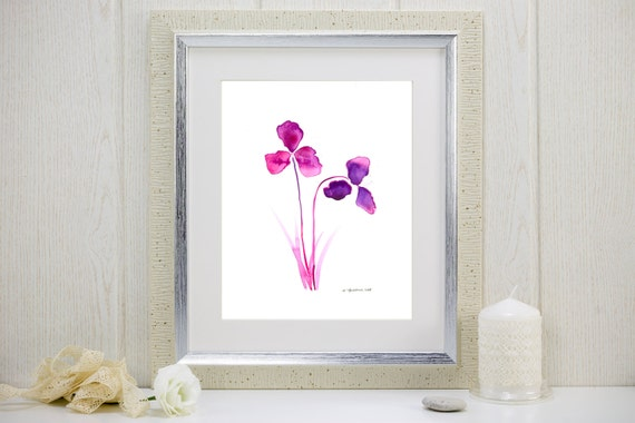 "Watercolor art print of radiant orchid flowers: ""Purple Orchids"""
