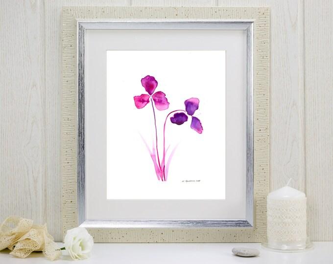 """Watercolor art print, """"Purple Orchids"""""""