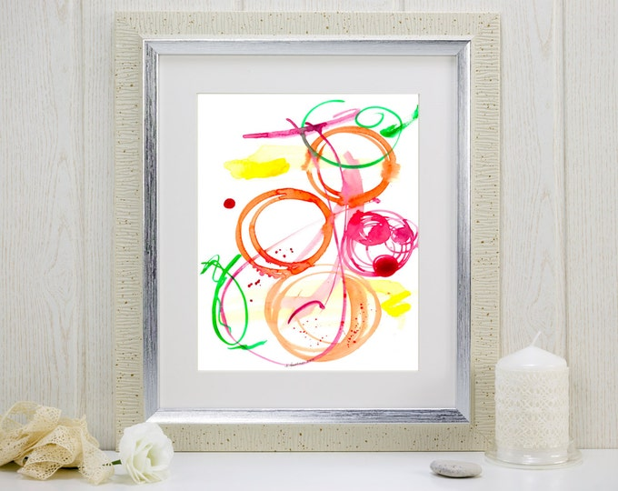 "Abstract watercolor art print, music-inspired, ""Jazz Ensemble"""