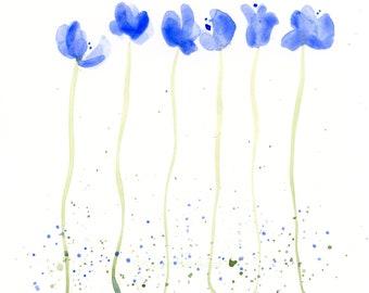 "Watercolor flowers, original painting, ""Blue Splash"""