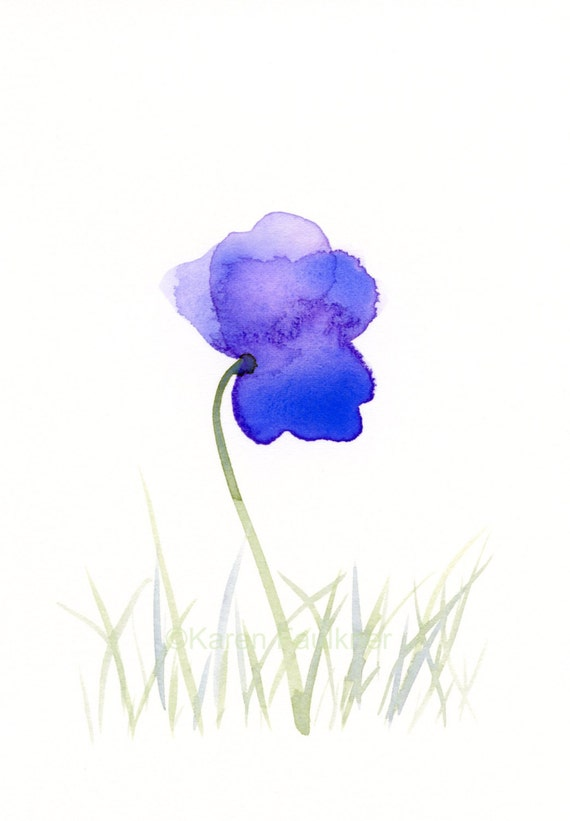 "Original watercolor painting of a purple flower: ""Purple Field 1"""