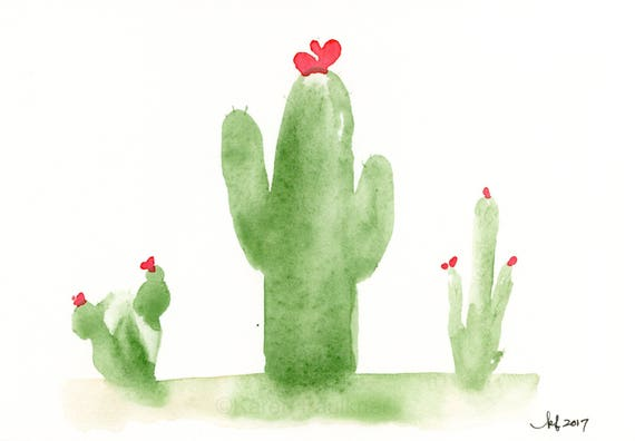 "Original watercolor cactus painting ""Tres Amigos"""