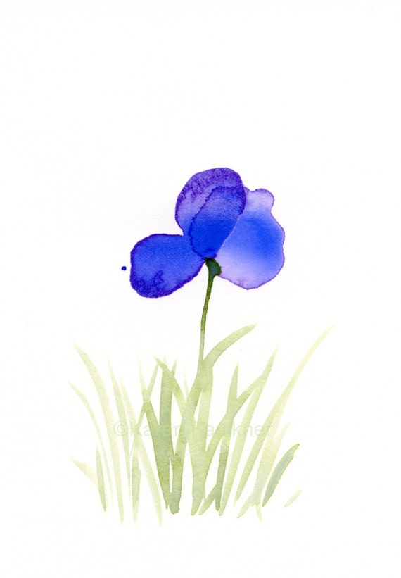 "Original watercolor painting of a purple flower: ""Purple Field 2"""