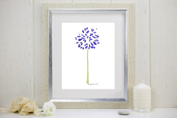 "Watercolor flower art print of purple agapanthus: ""Abstract Agapanthus"""