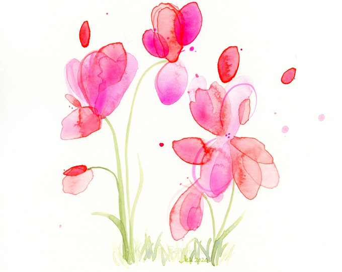 """Watercolor flowers, original painting of pink and coral flowers, """"Sunshowers"""""""