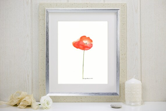 "Orange poppy watercolor art print: ""Papaver"""