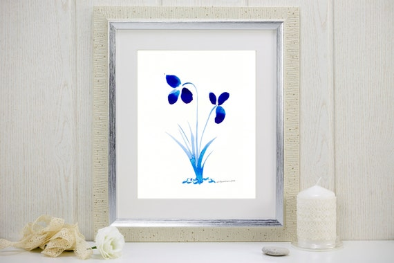 "Watercolor print of cobalt blue flowers: ""True Blue Orchids"""
