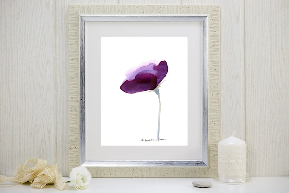 "Watercolor flower art print of a purple flower: ""Lisianthus"""