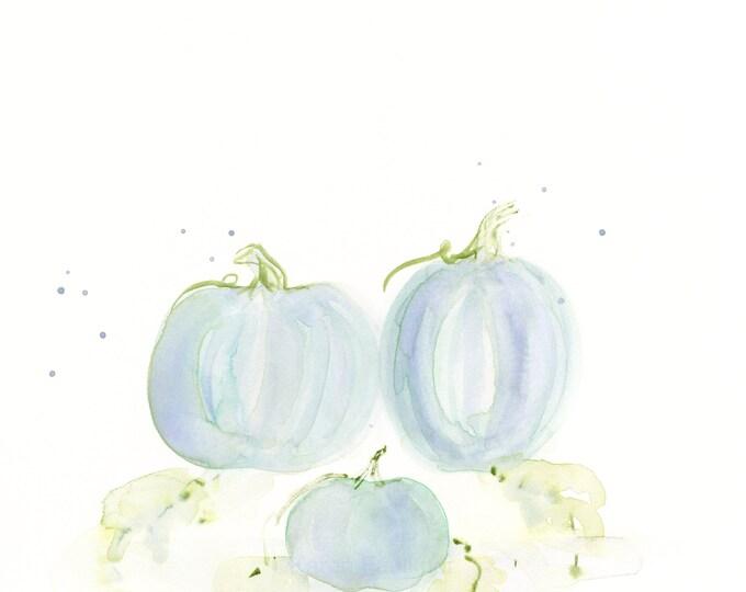 "Original watercolor painting, ""Ballet Blue Pumpkins"""