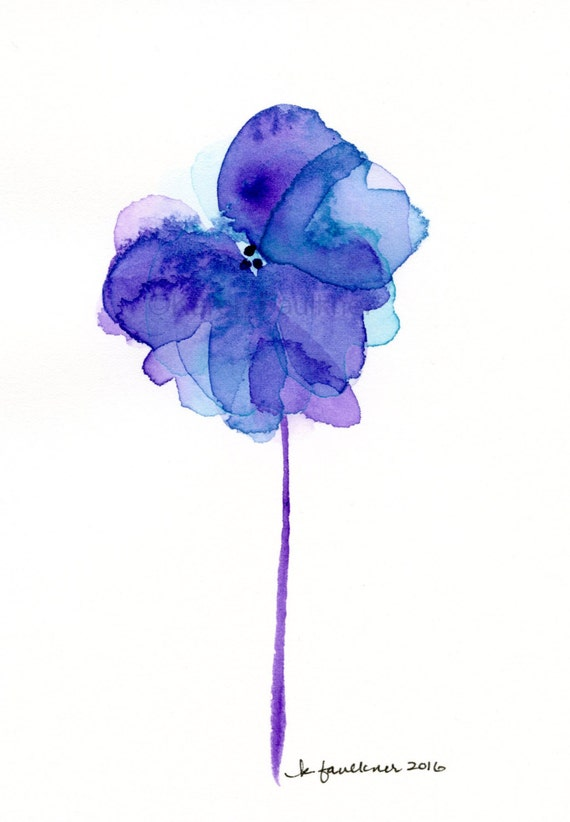 Original watercolor painting of a purple with aqua whimsical flower