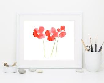 """Watercolor poppies art print, """"Poppy Garden"""""""