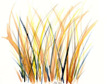 "Watercolor autumn field, original painting, ""Amber Fields"""