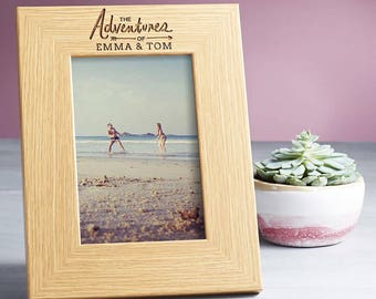 The Adventures of Personalized Picture Frame Personalised Wooden Picture Frame for Couples Friends Wedding Him and Her