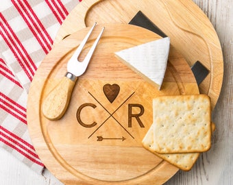 Engagement gift for couple personalized cheese board and knife set 'Follow your Heart' design