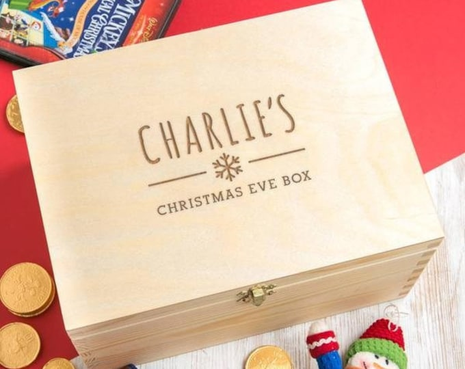Personalised Wooden Christmas Eve Box for Children - Personalized Xmas Eve Crate For Kids - Solid Pine Wood Construction - Built to Last