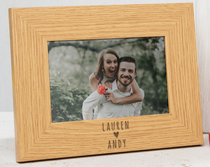 Personalised Couples Photo Frame - Personalized Picture Frame - Valentines Day Gifts For Him And Her - Wedding Gifts For Couples