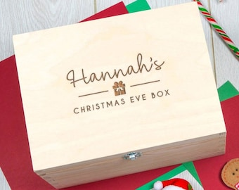 Personalized Wooden Christmas Eve Box - Personalised  Xmas Eve Box For Kids Family Adults