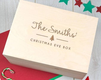 Personalized Large Christmas Eve Box Crate - Xmas Eve Boxes for Children Kids Family Ideas - Solid Pine Wood Construction - Built to Last