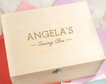 Wood Sewing Box Personalized