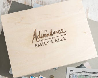 Wooden Keepsake Box Memory Box Personalized Gifts for Couples 'The Adventures Of' Design
