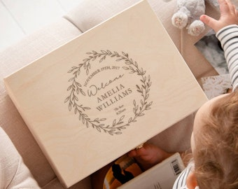 Baby Keepsake Box Personalised New Baby Gift Girl For Newborn - Unique Baby Memory Box Gift for New Mum