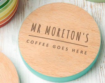 Personalised Wooden Engraved Drinks Coaster - Personalized Gift for Teacher / Teaching Assistant - Personalised Gift For Teachers