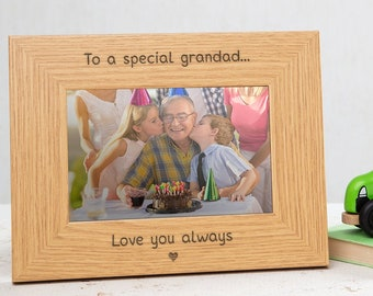 Personalise This Frame Grandad /& Me Wooden Photo Frame 4x6 Free Engraving