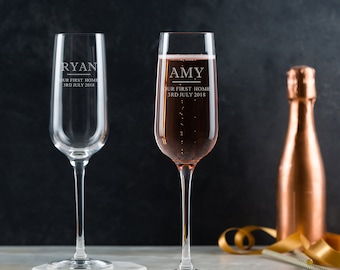 Pair Of Personalised Champagne Flutes - Engraved Housewarming Gift