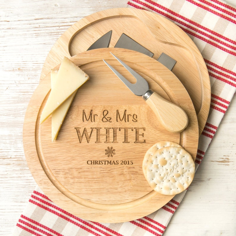 Personalised Mr And Mrs Christmas Cheese Board Set