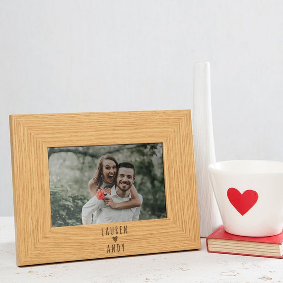 Personalized Photo Frame Wedding Engagement Photo Frame Valentine/'s Day Gift for Couple Newlywed Anniversary gift for her Wood Picture Frame