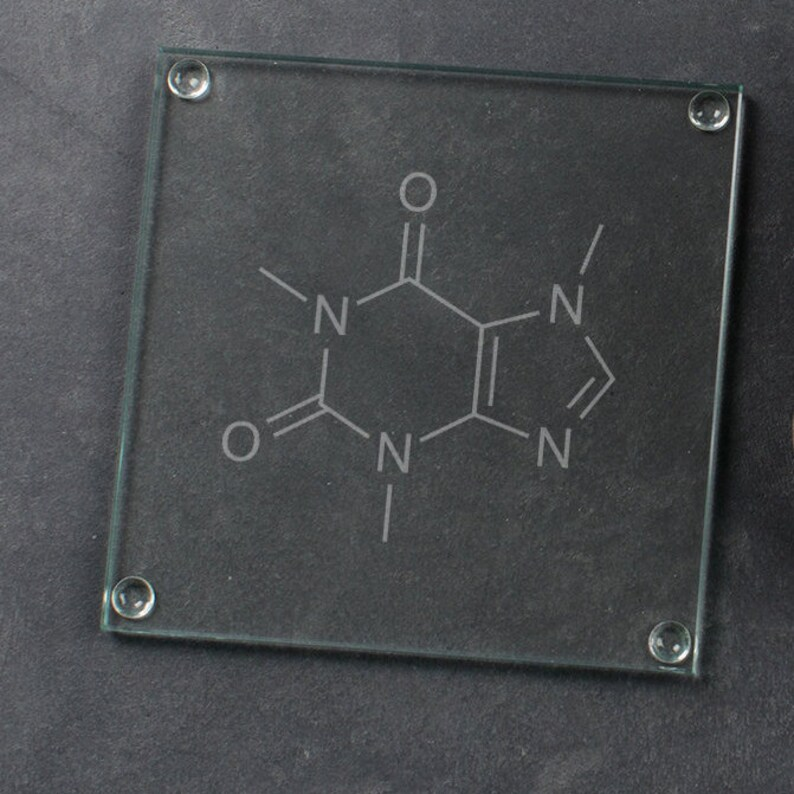 Unique Coffee Lovers Gift Caffeine Molecule Glass Coaster Funny Engraved Birthday Chemistry Present Science Teacher Gift