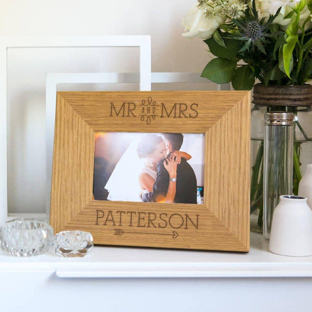 Monsieur /& Madame célébration cadre en bois 7x5-personnaliser ce cadre-Gravure Gratuit