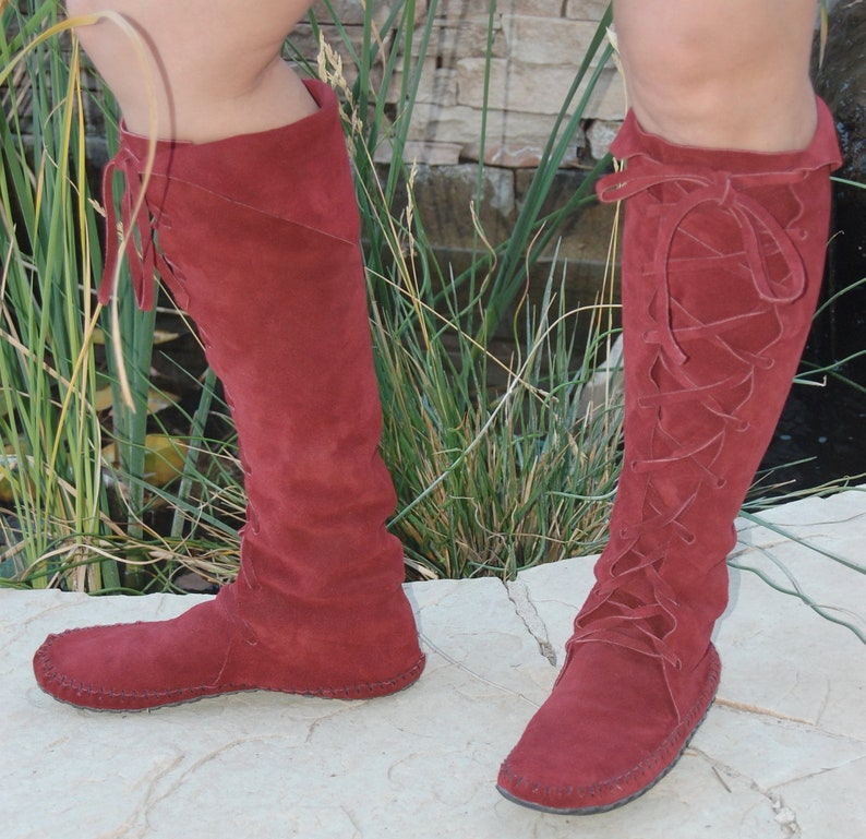f58b5644bac60 Earthgarden Enchanted ElfBoots Handmade laceup Moccasins Knee high Burgundy  suede w/rubber soles festival, circus, renfaire, forest fantasy