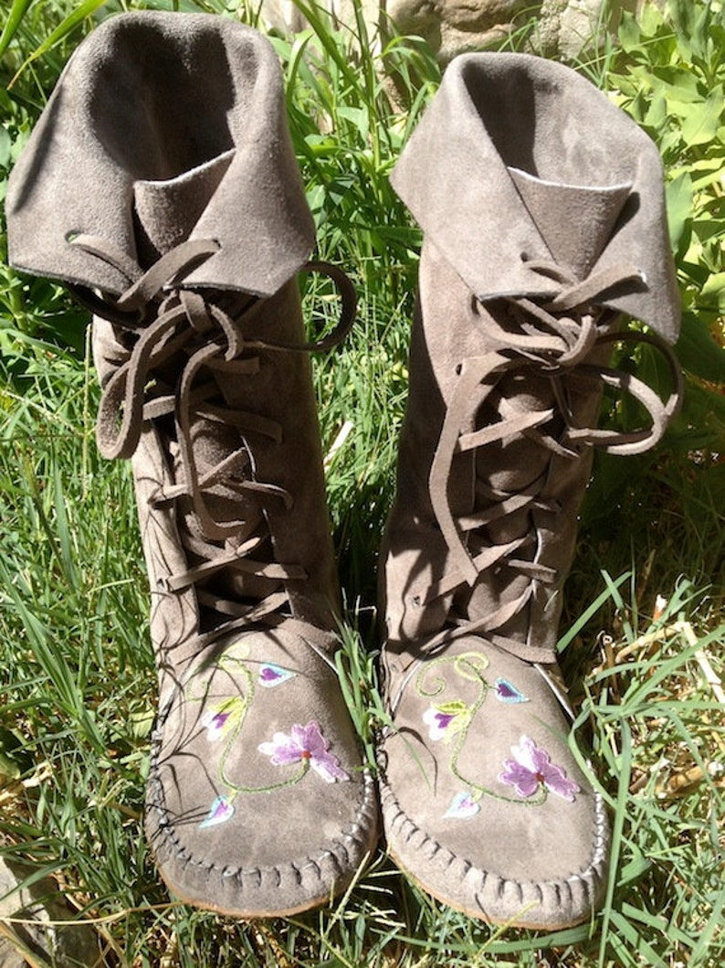 e3ac889b77996 FlowerFairy fantasy lace up Boots/Handmade Moccasin Gray Suede with rubber  soles/flowers Order Your Size