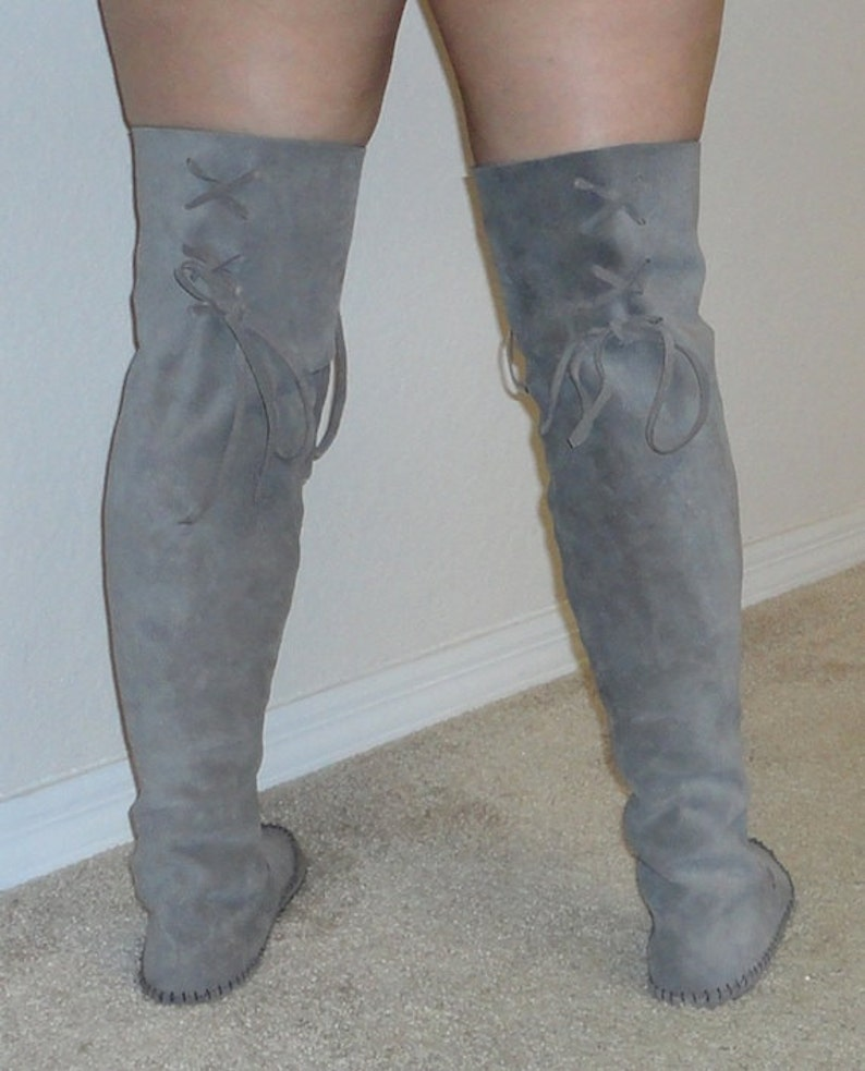 19bbbed29b86e Elf Boots Handmade Moccasins Over the knee/ thigh high suede w/rubber soles  Order your size/color