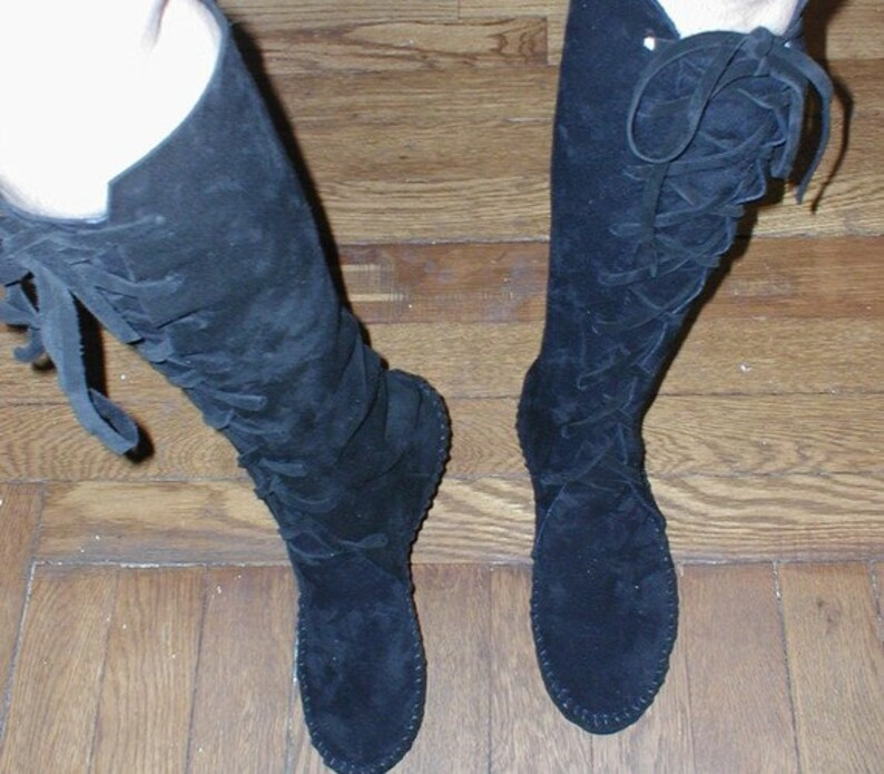 dd4d9e2bbc63d Earthgarden Black knee high Suede handmade boots with rubber soles Size  6-6.5 In Stock!