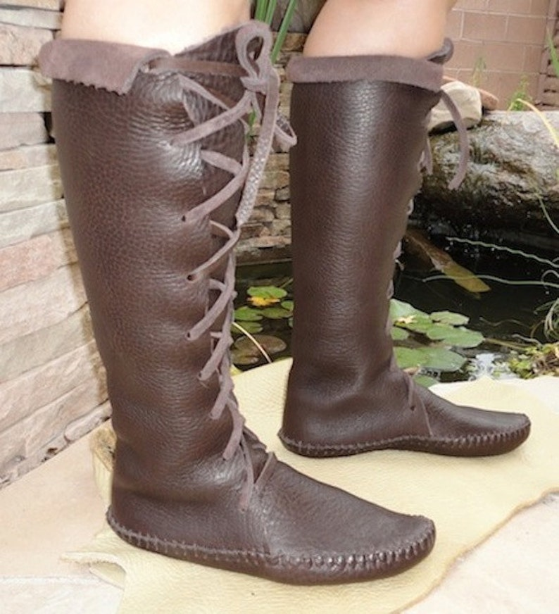 6c5d78ef3c1 Elf Boots Handmade lace up knee high Moccasins Dark brown