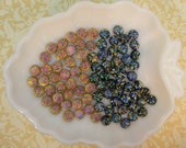 4 Cabs - 11mm Round Dome Vintage New Old Stock (NOS) Opal Glass Cabochons - Blue or Pink
