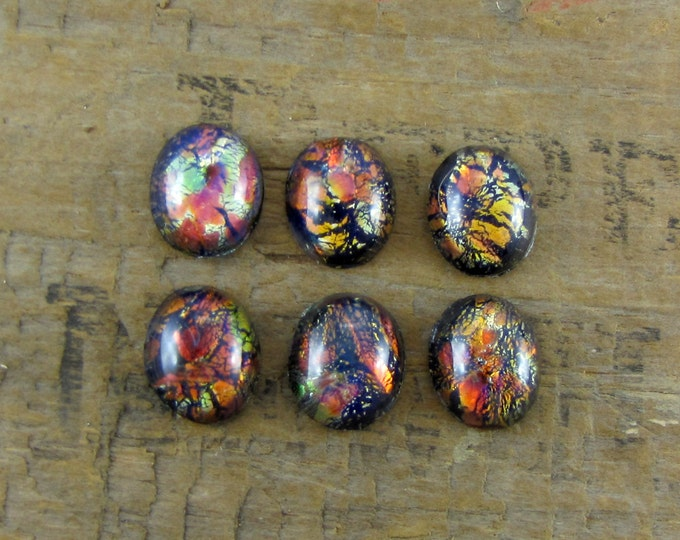 12x10mm Vintage New Old Stock (NOS) Black Opal Glass Cabochons - Lot of 4 Cabs