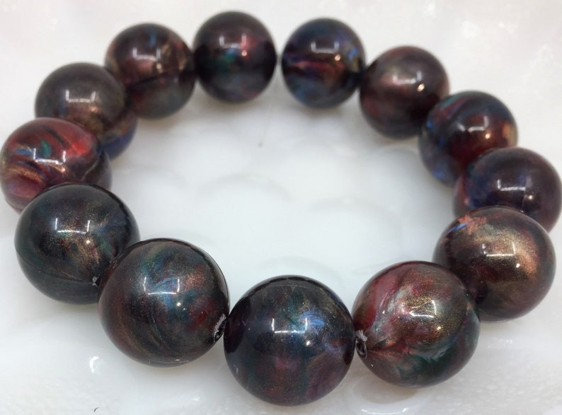 8 inch Strand New Old Stock Vintage NOS Round Lucite Beads in Translucent Iridescent Silky CopperBronze with Red and Blue