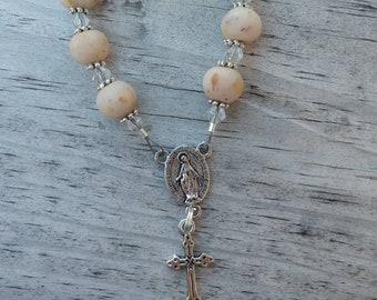Memorial Chaplet memorial beads funeral flowers memorial jewelry dried flowers Pocket Rosary