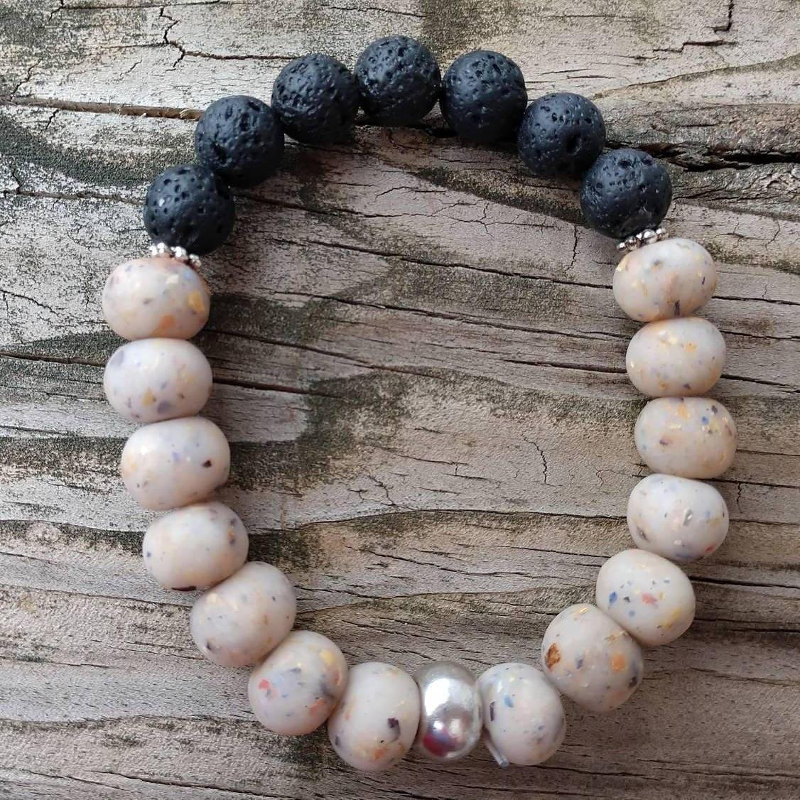 Dried Flower Memory Stretch Bracelet Lava Stones Essential Etsy