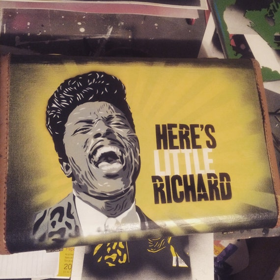 Little Richard spray paint stencil vintage suitcase