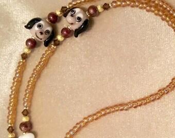 Dog Lover Gift Lampwork Glass Id badge holder Lanyard