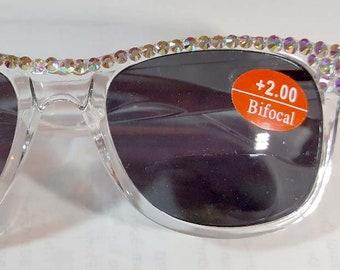 7bdb1236ea Black and Clear AB Crystal Bifocal Sunglasses made with Swarovski Crystals Spring  Hinge